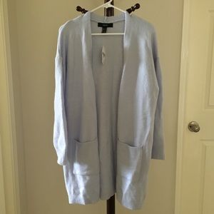 Forever 21 Light Blue Long Knit Cardigan
